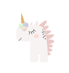 cute childish print with unicorn with ice cream vector image