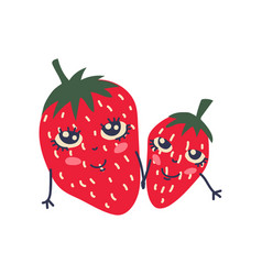 cute couple ripe strawberries with smiling vector image