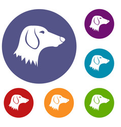 Dachshund dog icons set vector