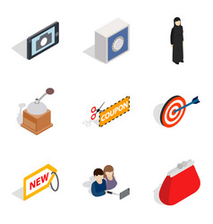 Damsel icons set isometric style vector