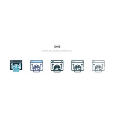 Dns icon in different style two colored and vector
