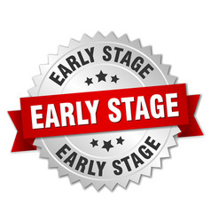 Early stage round isolated silver badge vector