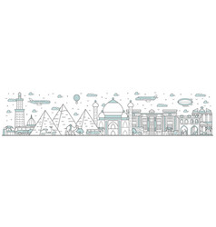egypt skyline line cityscape with famous building vector image