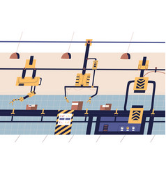 Factory industrial production line flat vector
