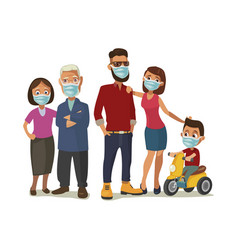Family in blue medical masks color flat vector