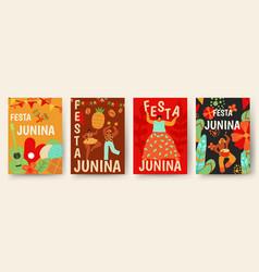 festa junina poster traditional brazil carnaval vector image
