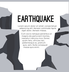 Flat card with earthquake and space for text vector