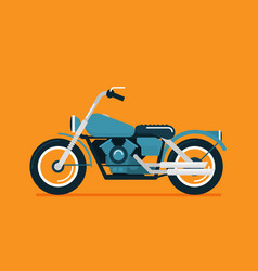 Flat classic motorcycle on color background vector