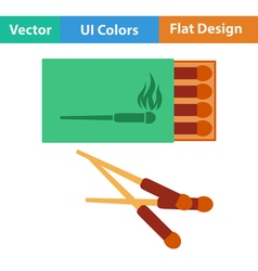 Flat design icon of match box vector image