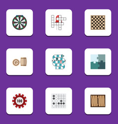 flat icon games set of lottery multiplayer guess vector image