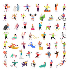 flat people characters collection man and woman vector image