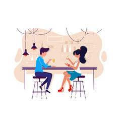 Flat young man and woman on date with drink in bar vector