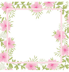 Flowers with leaves with frame isolated icon vector