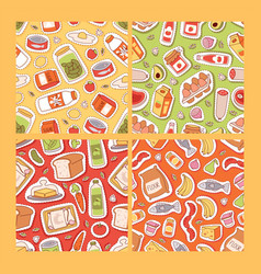 Food stickers seamless pattern cartoon gastronomy vector