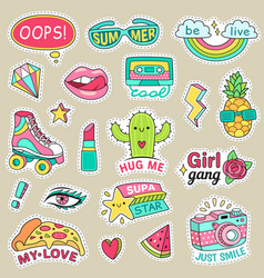 Fun fashion teenage stickers cute cartoons vector