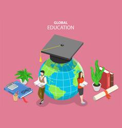 Global online education flat isometric vector