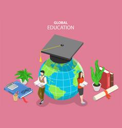global online education flat isometric vector image