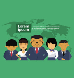 Group of asian business people over world map vector