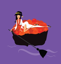 Halloween Sushi Witch vector image