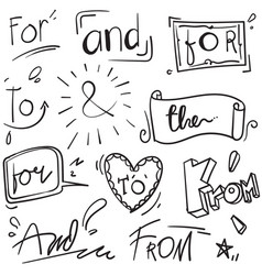 Hand drawn design elements set words withfrom by vector
