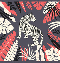 hand drawn white tiger with exotic tropical vector image