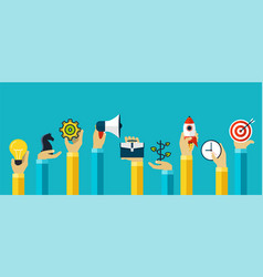 Hands with motivating icons to achieve goal vector