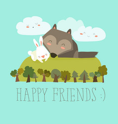 happy friends in the forest wolfrabbit vector image