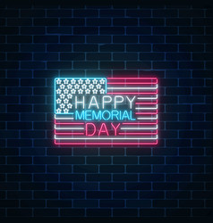 Happy memorial day glowing neon sign with usa vector