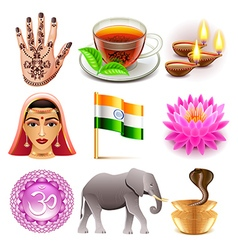 India icons set vector