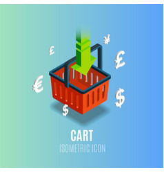 Isometric cart icon with currency vector