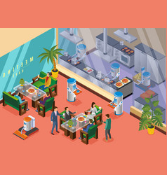Isometric robotic restaurant concept vector
