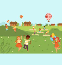 kids jumping doing yoga activities and sports in vector image