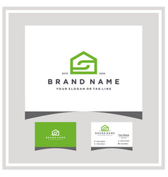 Letter s home logo design and business card vector