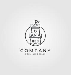 line art castle logo minimalist design vector image