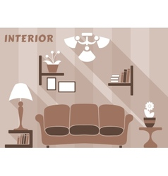 Living room modern interior design in flat style vector image vector image