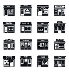 Local business shop icons set simple style vector