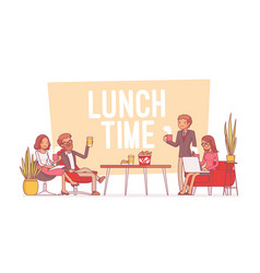 Lunch time in the office lineart concept vector