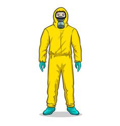 Man in protective hazard suit pop art vector