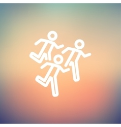 Marathon runners thin line icon vector