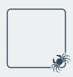 marine background sea rope frame with crab vector image