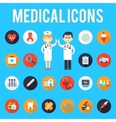 Medical tools and medical staff flat icons vector
