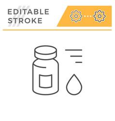 medical vial editable stroke line icon vector image