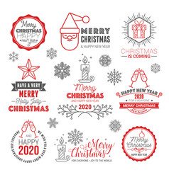 merry christmas and happy new year logo set vector image