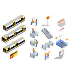 Metro isometric set vector