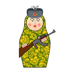 Military matrioshka with gun new russian folk vector