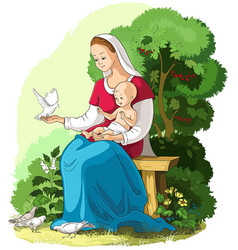 Mother mary holding baby jesus christian vector