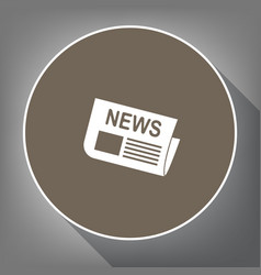 newspaper sign white icon on brown circle vector image