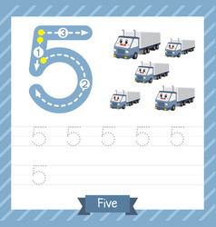 Number 5 transportation tracing worksheet vector