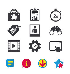 Photo camera icon flash light and video frame vector