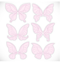 Pink fairy wings different form with dotted vector